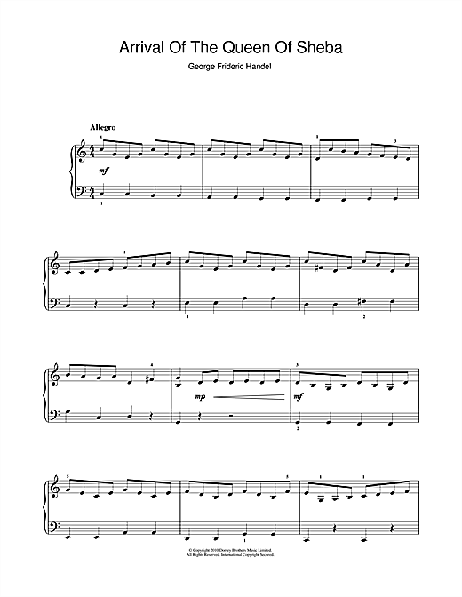 The Arrival Of The Queen Of Sheba (from Solomon) (Beginner Piano)