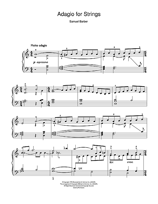 Adagio For Strings Op. 11 Sheet Music