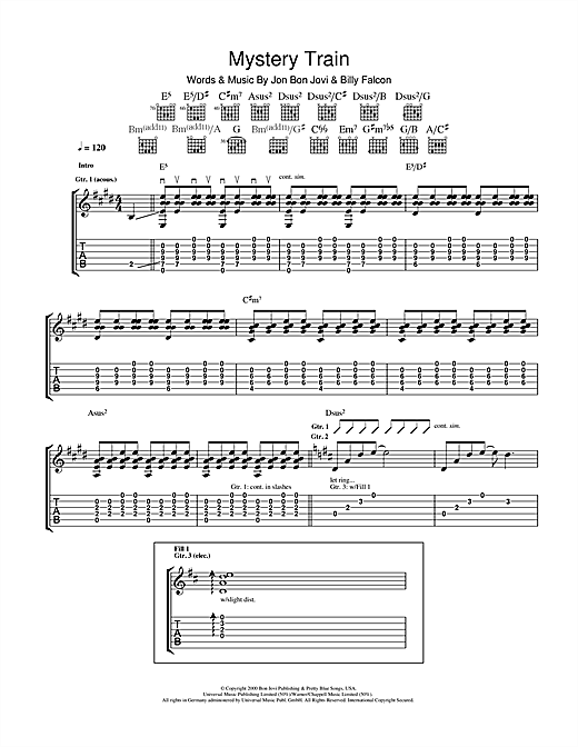 Mystery Train Guitar Tab by Bon Jovi (Guitar Tab – 105847)