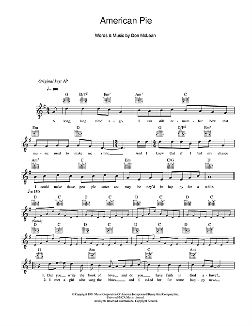 American Pie (Lead Sheet / Fake Book)