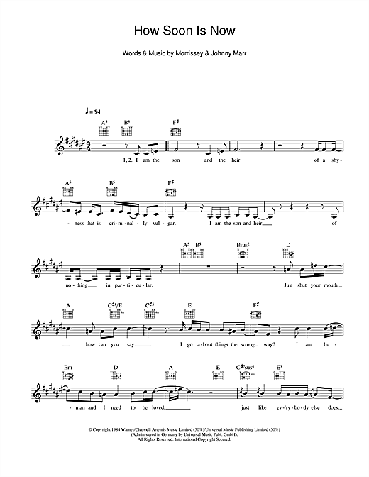 How Soon Is Now? Sheet Music