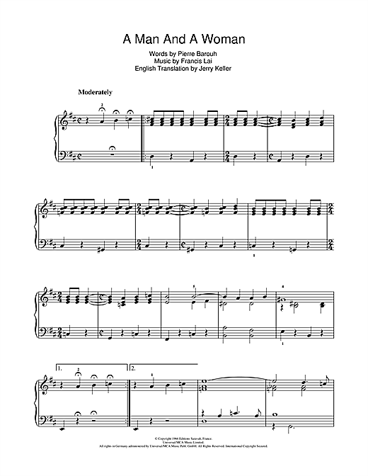 A Man And A Woman (Un Homme Et Une Femme) Sheet Music