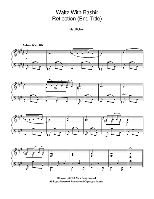 Andante / Reflection (after Schubert D.959) (End Title from Waltz With Bashir) Sheet Music