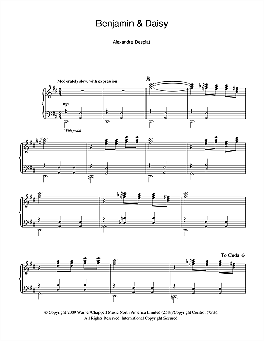 Benjamin And Daisy (from The Curious Case Of Benjamin Button) Sheet Music
