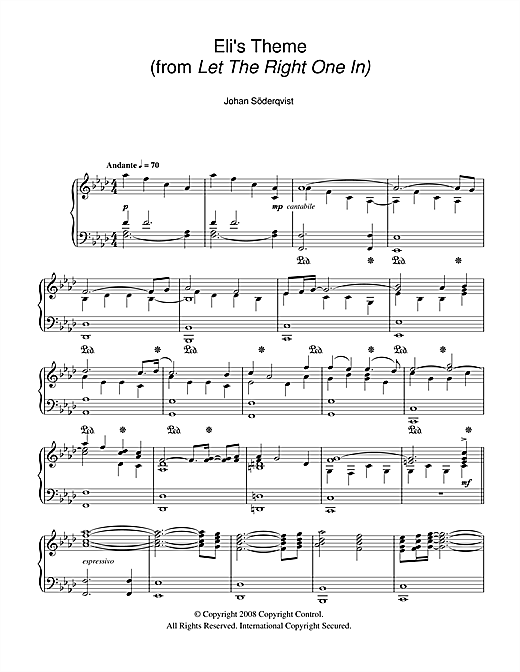 Eli's Theme (from Let The Right One In) Sheet Music
