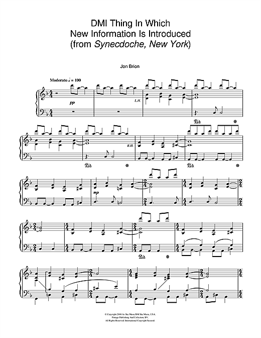 Partition piano DMI Thing In Which New Information Is Introduced (from Synecdoche, New York) de Jon Brion - Piano Solo