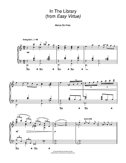 In The Library (from Easy Virtue) Sheet Music
