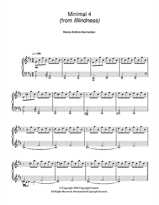 Minimal 4 (from Blindness) Sheet Music