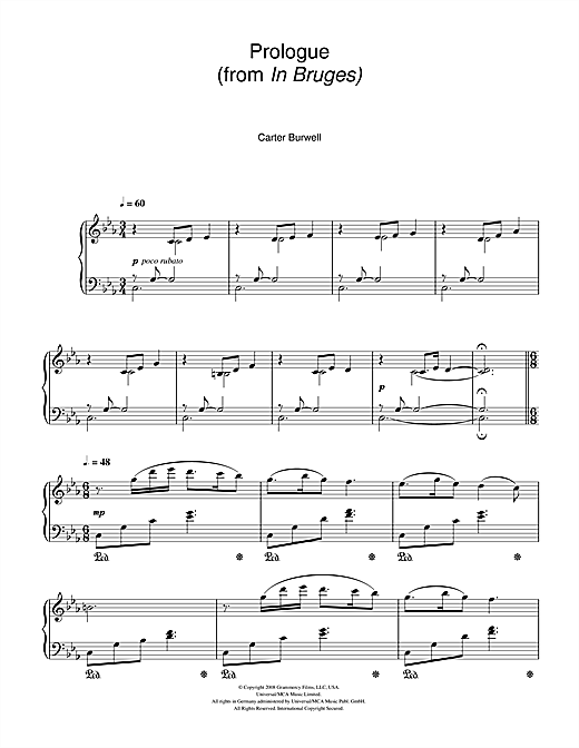 Prologue (from In Bruges) Sheet Music