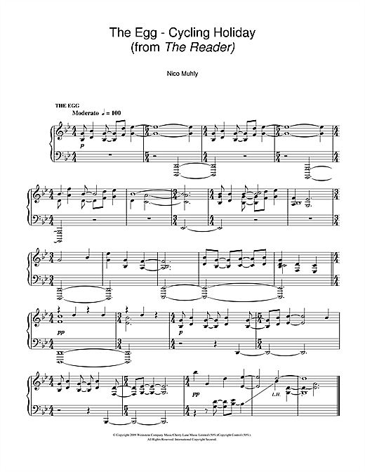 Partition piano The Egg - Cycling Holiday (from The Reader) de Nico Muhly - Piano Solo