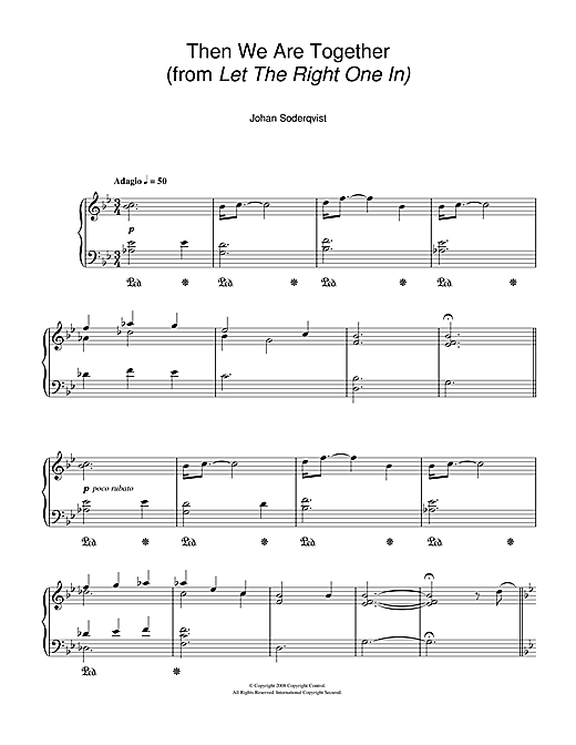 Then We Are Together (from Let The Right One In) Sheet Music