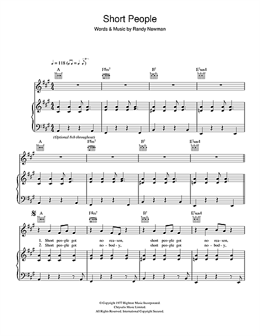 Short People Sheet Music