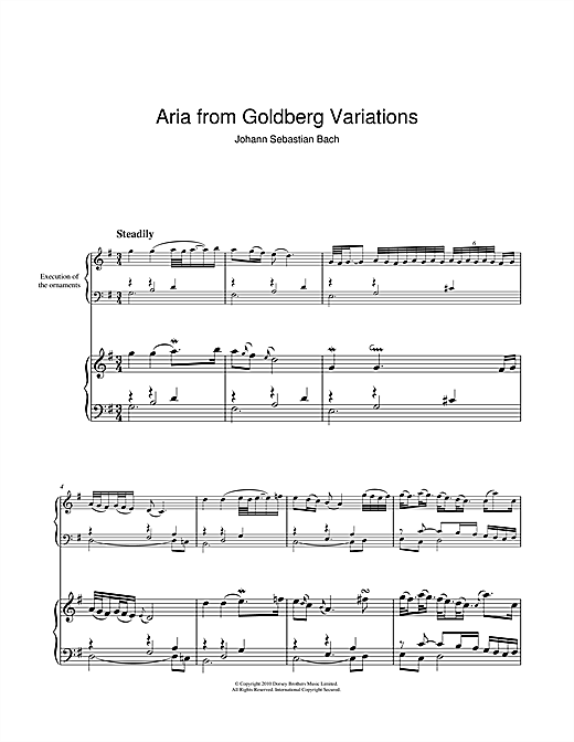 Partition piano Aria from Goldberg Variations de Johann Sebastian Bach - Piano Solo