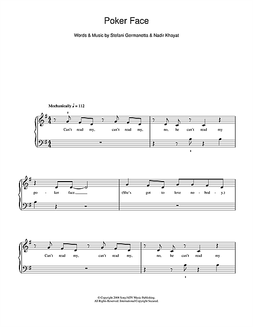 Poker face glee chords piano