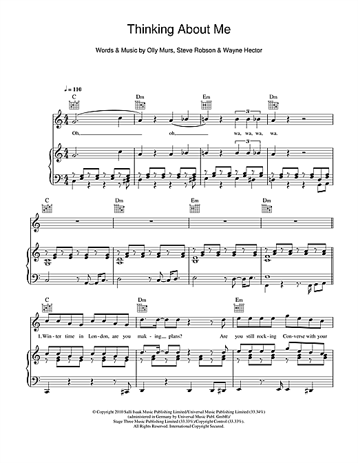 Thinking Of Me Sheet Music
