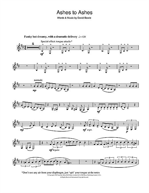 Ashes To Ashes Sheet Music