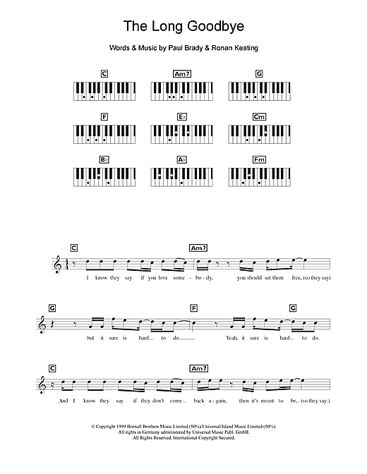 The Long Goodbye Sheet Music