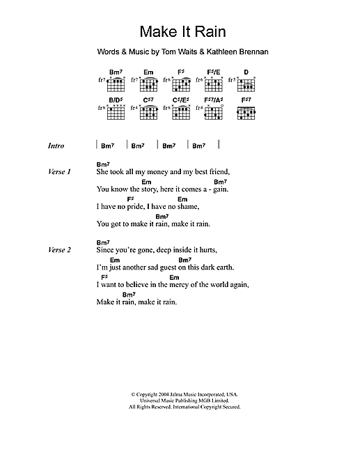 Make It Rain Sheet Music