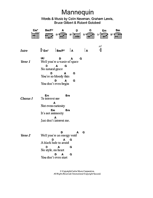 Mannequin Sheet Music