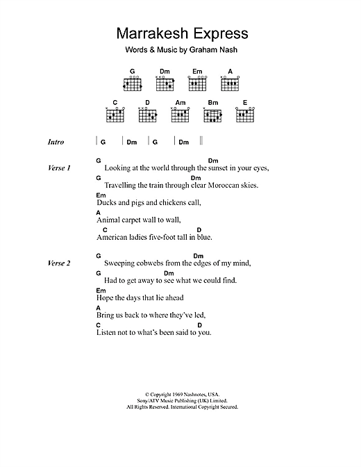 Marrakesh Express (Guitar Chords/Lyrics)