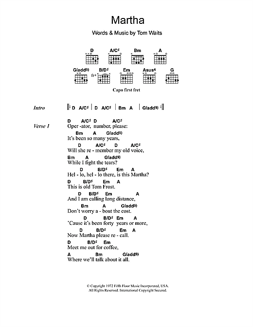 Martha (Guitar Chords/Lyrics)