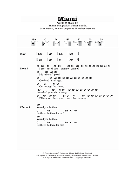 Miami (Guitar Chords/Lyrics)