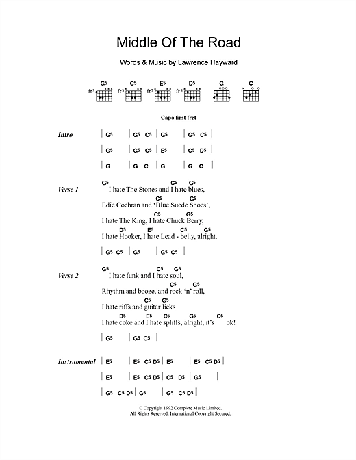 Middle Of The Road (Guitar Chords/Lyrics)