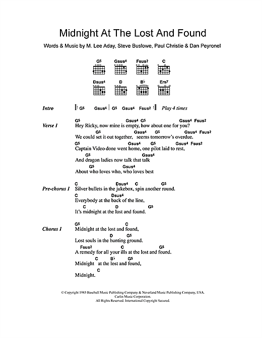 Midnight At The Lost And Found Sheet Music