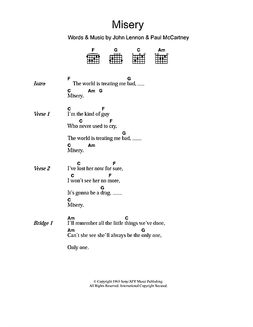 Misery Sheet Music