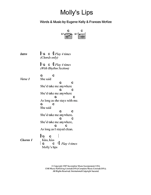 Molly's Lips Sheet Music