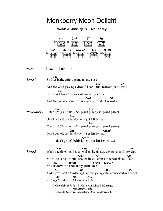 Monkberry Moon Delight Sheet Music