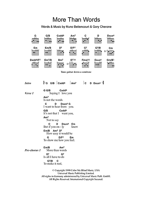 More Than Words (Guitar Chords/Lyrics)