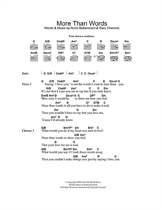 More Than Words sheet music by Westlife (Lyrics & Chords ...