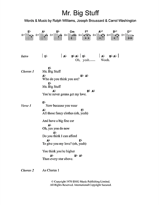 Mr. Big Stuff Sheet Music