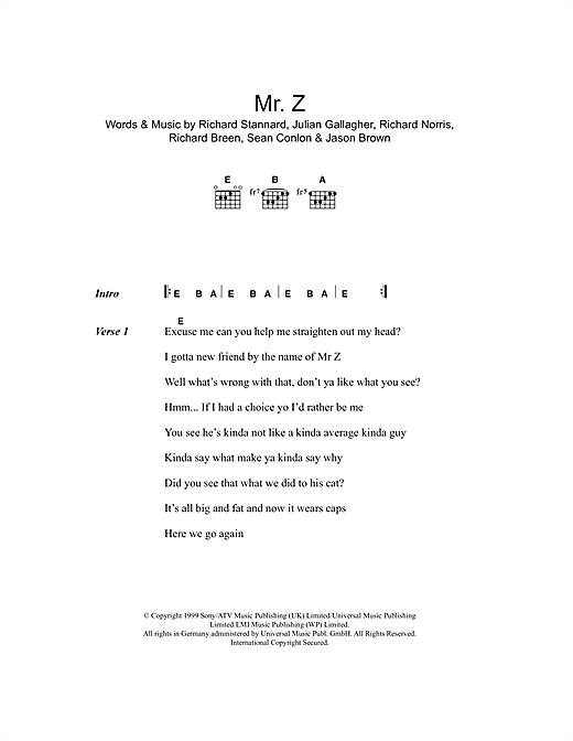 Mr. Z (Guitar Chords/Lyrics)
