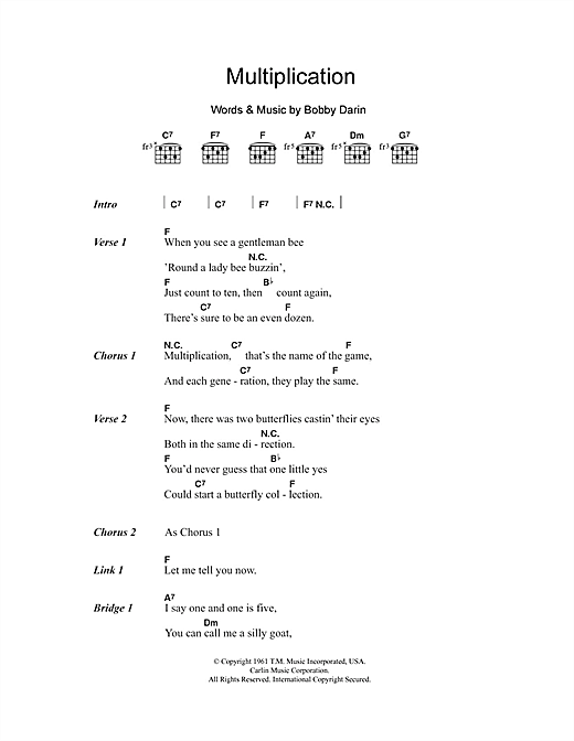 Multiplication Sheet Music