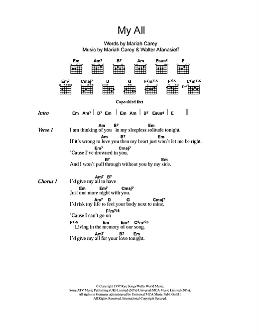 My All Sheet Music By Mariah Carey Lyrics Chords 106077