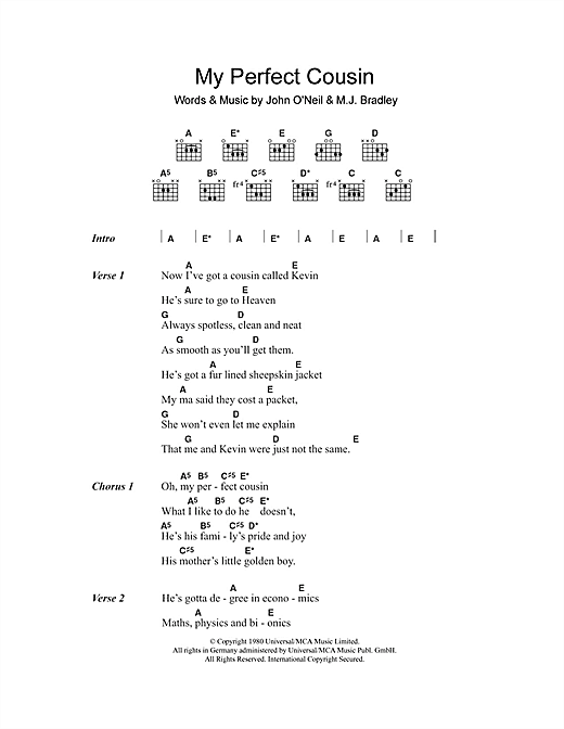 My Perfect Cousin (Guitar Chords/Lyrics)