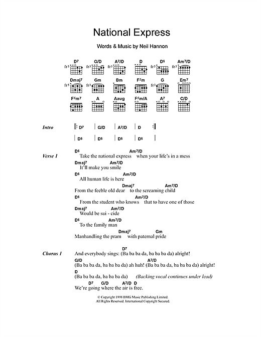 National Express (Guitar Chords/Lyrics)