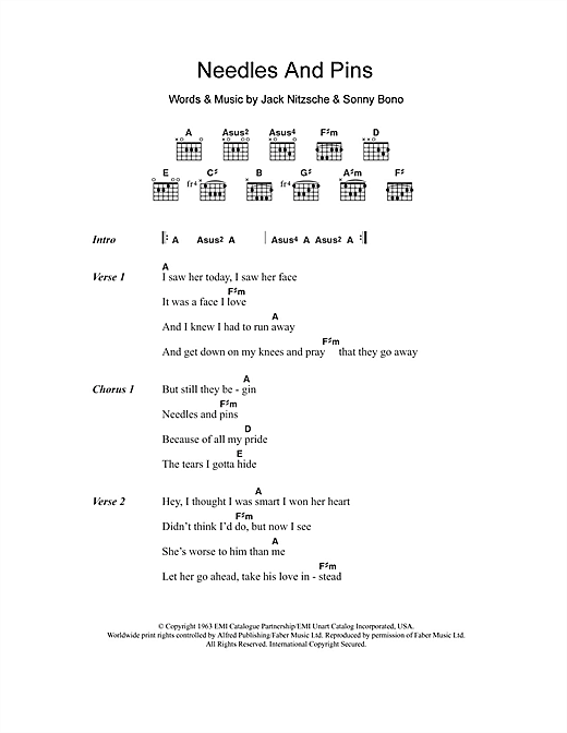 Needles And Pins sheet music by The Searchers (Lyrics & Chords – 106117)