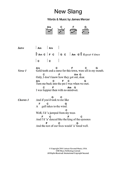 New Slang Sheet Music