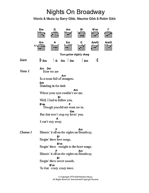 Nights On Broadway (Guitar Chords/Lyrics)