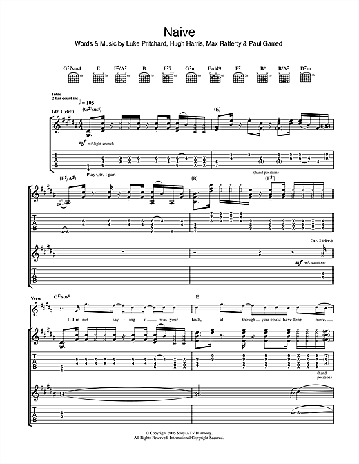 Tablature guitare Naive de The Kooks - Tablature Guitare