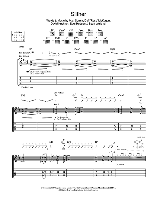 Tablature guitare Slither de Velvet Revolver - Tablature Guitare