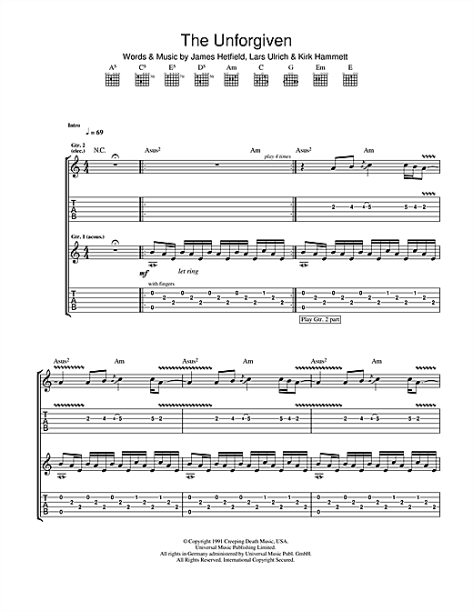 Tablature guitare The Unforgiven de Metallica - Tablature Guitare