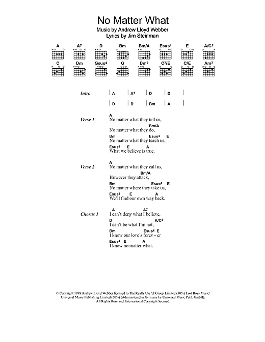 No Matter What (from Whistle Down The Wind) (Guitar Chords/Lyrics)