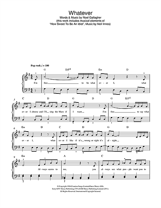 Whatever Sheet Music