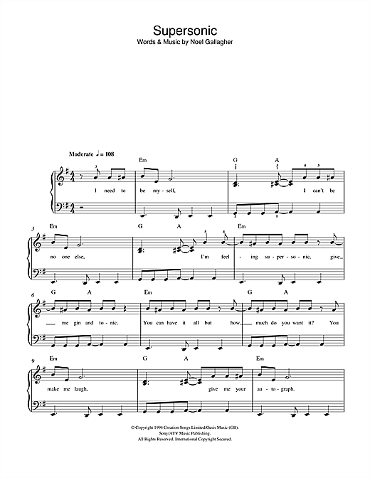 Supersonic Sheet Music