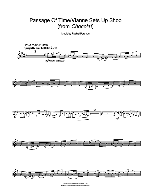 Passage Of Time/Vianne Sets Up Shop (from Chocolat) Sheet Music