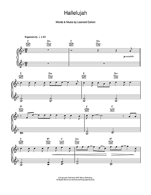 Hallelujah Chords Piano Sheet Music Images Chord Guitar Finger